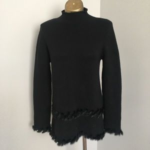 Neiman Marcus cashmere sweater with Rex fur accent